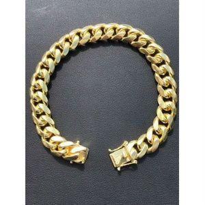 Mens Miami Cuban Link Bracelet 14k Gold Over Solid